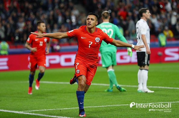 '산체스 골' 칠레, 독일과 1-1 무승부...1위 유지