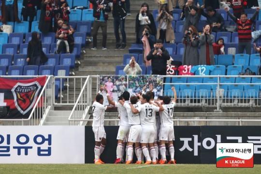 '바그닝요 동점골' 수원, 포항과 1-1 무승부...5위 도약